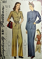 1940s Pants Suit Pattern SIMPLICITY 4117 WW II Era Katharine Hepburn Style Trouser Pants and Jacket Bust 38 Vintage Sewing Pattern