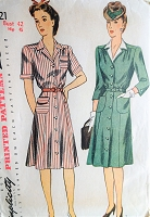 1940s Vintage WAR TIME Shirt Dress with Gathered Waist and Details Simplicity 4721 Sewing Pattern Bust 42