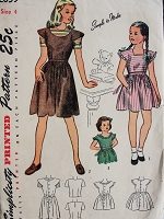 Vintage 1940s CHARMING Childs Pinafore and Blouse Simplicity 2059 Chest 23 Sewing Pattern