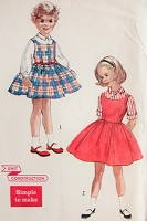 Vintage 1950s CLASSIC Childs Blouse and Jumper Simplicity 2209 Chest 24 Sewing Pattern