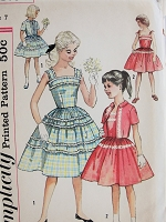 1950s Vintage PRETTY Childs Dress and Jacket Simplicity 2520 Chest 25 Sewing Pattern