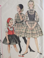 Vintage 1950s SWEET Girl's Dress with Weskit and Hat Simplicity 3607 Chest 24 Sewing Pattern