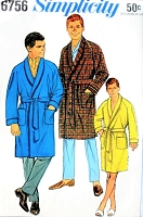 1960s CLASSIC Gentlemens Robe Bathrobe Lounging Robe Pattern SIMPLICITY 6756 Size Large Vintage Mens Sewing Pattern