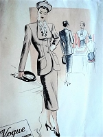 1940s STUNNING Slim Skirt Suit Pattern VOGUE Couturier Design 353 Longer Length Fitted Jacket with Pencil Slim Skirt Bust 32 Vintage Sewing Pattern