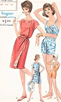 1960s FAB Swimsuit and Beach Robe Coat Cover Up Pattern VOGUE 5263 One piece or Two Piece Bathing Suit Swimming Suit Cute Beach Cover Bust 32 Vintage Sewing Pattern