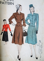 1940s Suit Dress Pattern VOGUE 5769 Classic Forties Suit Fitted Jacket and Flared Skirt Bust 36 Vintage Sewing Pattern