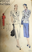 1940s CLASSY Slim Suit Pattern VOGUE 6047 Beautifully Designed Jacket and Slim Skirt Bust 32 Vintage Sewing Pattern