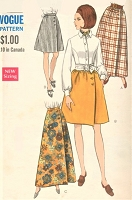 1960s MOD Dirndl or A Line Wrap Skirt Pattern VOGUE 7450 Four Versions Above Knee or Maxi Length Waist 27 Vintage Sewing Pattern