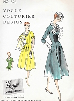 1950s STYLISH Dress Pattern VOGUE Couturier Design 893 Figure Flattering Design Bust 30 Vintage Sewing Pattern
