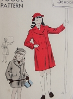 Vintage 1940s CLASSIC Childs Single or Double Breasted Coat Vogue Pattern 2340 Chest 24 Sewing Pattern