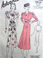 1930s ART DECO Dress Pattern ADVANCE 1821 Shirred Sleeves, Draped Neckline Figure Flattering Daytime or Evening Party Style Bust 38 Vintage Sewing Pattern