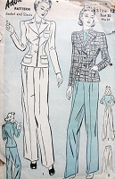 1940s Vintage STYLISH Women's Suit with Shoulder Pads Advance 2405 Sewing Pattern Bust 30