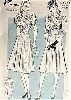 1940s Vintage GORGEOUS Dress with Puffed Sleeves Advance 2444 Sewing Pattern Bust 36