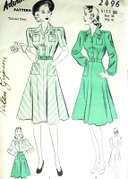 1940s SNAPPY Flared Skirt Dress Pattern ADVANCE 2496 Two Style Versions Bust 38 Vintage Sewing Pattern