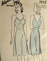 1940s SLINKY Back Wrap Slip Pattern ADVANCE 3078 Lovely V Neckline Slip Bust 34-36 Vintage Sewing Pattern FACTORY FOLDED