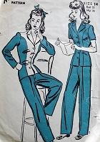 1940s WW2 Vintage KATE HEPBURN STYLE Pantsuit Advance Sewing Pattern 3319 Bust 32 War Time Fashion