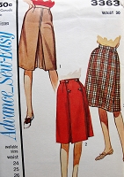 1960s EASY To Sew Culottes Skirt Pattern ADVANCE 3363 Sporty Culottes, Pantskirt, Flip Front Panel Split Skirt Waist 30 Vintage Sewing Pattern FACTORY FOLDED