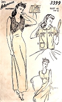 1940s GLAM Nightgown and Bedjacket Lingerie Pattern ADVANCE 3399  WW II Era Pin Up Style SleepWear Bust 40 Vintage Sewing Pattern