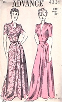 1940s GLAM House Coat Robe Hostess Gown Pattern ADVANCE 4331 Side Wrapped Flattering Robe 2 Versions Bust 30 Vintage Sewing Pattern