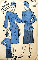 1940s FILM NOIR Peplum Jacket Suit Pattern ADVANCE 4378 Beautiful Design Details, 2 Sleeve Styles Bust 32 Vintage Sewing Pattern