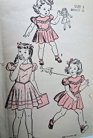 1940s DELIGHTFUL Little Girls Dress Pattern ADVANCE 4702 Three Sweet Styles Size 3 Childrens Vintage Sewing Pattern