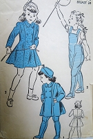 1940s CUTE Girls Coat,Hat and Leggings Pattern ADVANCE 4710 Sweet Styles Size 6 Childrens Vintage Sewing Pattern