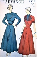 1940s UNIQUE Bodice Dress Pattern ADVANCE 4922 Two Versions, Lovely Flared Skirted Dress, Bust 32 Vintage Sewing Pattern