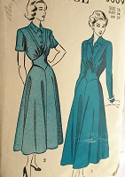 1940s LOVELY Dress Pattern ADVANCE 5009 Eye Catching Shaped Midriff,Flattering Full Skirted Dress Bust 34 Vintage Sewing Pattern