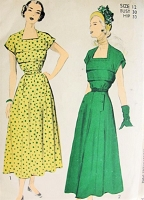 1940s PRETTY Dress Pattern ADVANCE 5188 Bust 30 Vintage Sewing Pattern