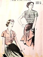 1950s BEAUTIFUL Blouse Pattern ADVANCE 5274 Romantic Shirred or Tucked Blouses Lovely Styles Bust 32 Vintage Sewing Pattern