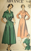 1940s SMART Dress Pattern ADVANCE 5321 Lovely Details with 2 Style Versions Bust 32 Vintage Sewing Pattern
