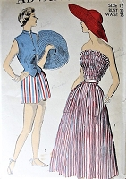 1940s FABULOUS Beachwear Pattern ADVANCE 5337 WIDE Brim Sun Hat Beach Hat, Full Skirt With Large Pockets, Fitted Weskit Blouse Bust 30 Vintage Sewing Pattern
