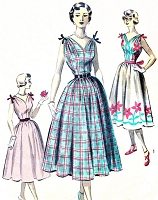 1950s LOVELY Dress Pattern ADVANCE 5627 Full Skirt Sundress V Neckline and Back,Shoulder Bows Bust 32 Vintage Sewing Pattern