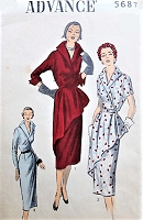 1940s STUNNING Day or Cocktail evening Dress Pattern ADVANCE 5687 Lovely Wing Collar, Eye Catching Front Drape or Without Slim Dress Bust 40 Vintage Sewing Pattern FACTORY FOLDED