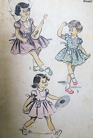 1950s ADORABLE Puff Sleeved Girls Dress Pattern ADVANCE 5714 Size 8 Childrens Vintage Sewing Pattern