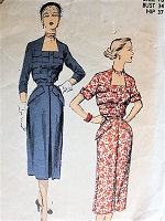 1950s LOVELY Dress Pattern ADVANCE 5773 Flattering Neckline and Bodice, Day or Party Dress Bust 34 Vintage Sewing Pattern