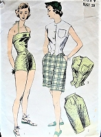 1950s GLAMOROUS Bathing Suit Beachwear Pattern ADVANCE 5794 Includes High Waist Walking Shorts and Weskit Blouse Bust 28 Weekend Wear Vintage Sewing Pattern