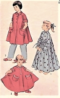 1950s CUTE Girls Full Flared Sweeping Peignoir,Bathrobe,Long Gown or Smock Size 6 Childrens Vintage Sewing Pattern