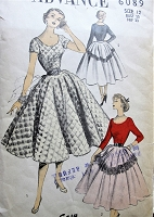1950s LOVELY Full Skirt Dress and Novelty Belt Pattern ADVANCE 6089 Very Full Skirt,Scoop Neckline Day or Evening Party Bust 30 Sew Easy Vintage Sewing Pattern