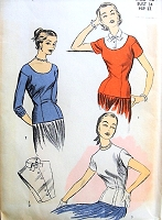 1950s Lovely Blouse and Dickey Insert Pattern ADVANCE 6206 Fitted Day or Evening Blouse Scoop or Jewel Neckline or  Dickey Insert Bust 34 Vintage Sewing Pattern FACTORY FOLDED