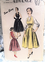 1950s BEAUTIFUL Halter Dress or Jumper Pattern ADVANCE 6320 Very Marilyn Monroe Evening Party Dress Bust 30 Vintage Sewing Pattern