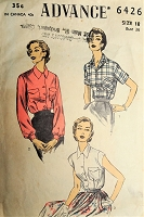 1950s CLASSIC Tailored Shirt Blouse Pattern ADVANCE 6426 Three Style Versions Bust 36 Vintage Sewing Pattern