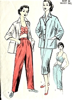 1950s FAB Beachwear Weekend Wear Pattern ADVANCE 6433 Jacket, Bra, Slacks and Pedal Pushers Capri Pants Bust 32 Vintage Sewing Pattern
