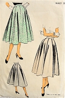 1950s CLASSIC Eight Gored Skirt Advance 6456 Waist 28 Vintage Sewing Pattern