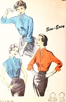 1950s STYLISH Blouse Pattern ADVANCE 6534  Day or Evening 2 Styles Bust 32 Sew Easy Vintage Sewing Pattern FACTORY FOLDED