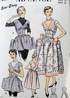 1950s PRETTY Apron Pattern ADVANCE 6593 Three Style Versions, V Neckline Aprons or Back Wrap Dress,Large Pockets, Bust 36 Sew Easy Vintage Sewing Pattern