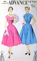 1950s BEAUTIFUL Princess Seam Dress and Bolero Jacket Pattern ADVANCE 6707 Figure Flattering Full Skirted Day or Party Dress Bust 32 Vintage Sewing Pattern