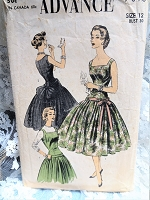 1950s BEAUTIFUL Party Dress Pattern ADVANCE 7015 So Grace Kelly Style,Drop Waist Day or Evening Dress Bust 30 Vintage Sewing Pattern