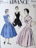 1950s BEAUTIFUL  Cocktail Party Dress Pattern ADVANCE 7030 Lovely Unique Style Two versions, Bust 34 Vintage Sewing Pattern