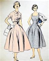1950s PRETTY Dress or Jumper and Jacket Pattern ADVANCE 7068  Wide square Neckline, Princess Skirt Dress High fitted Midriff, Cuffed sleeve Bolero Bust 32 Vintage Sewing Pattern FACTORY FOLDED